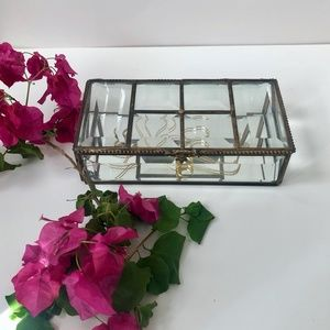 Nicole Miller Glass Jewelry Box w/ Mirrored Bottom